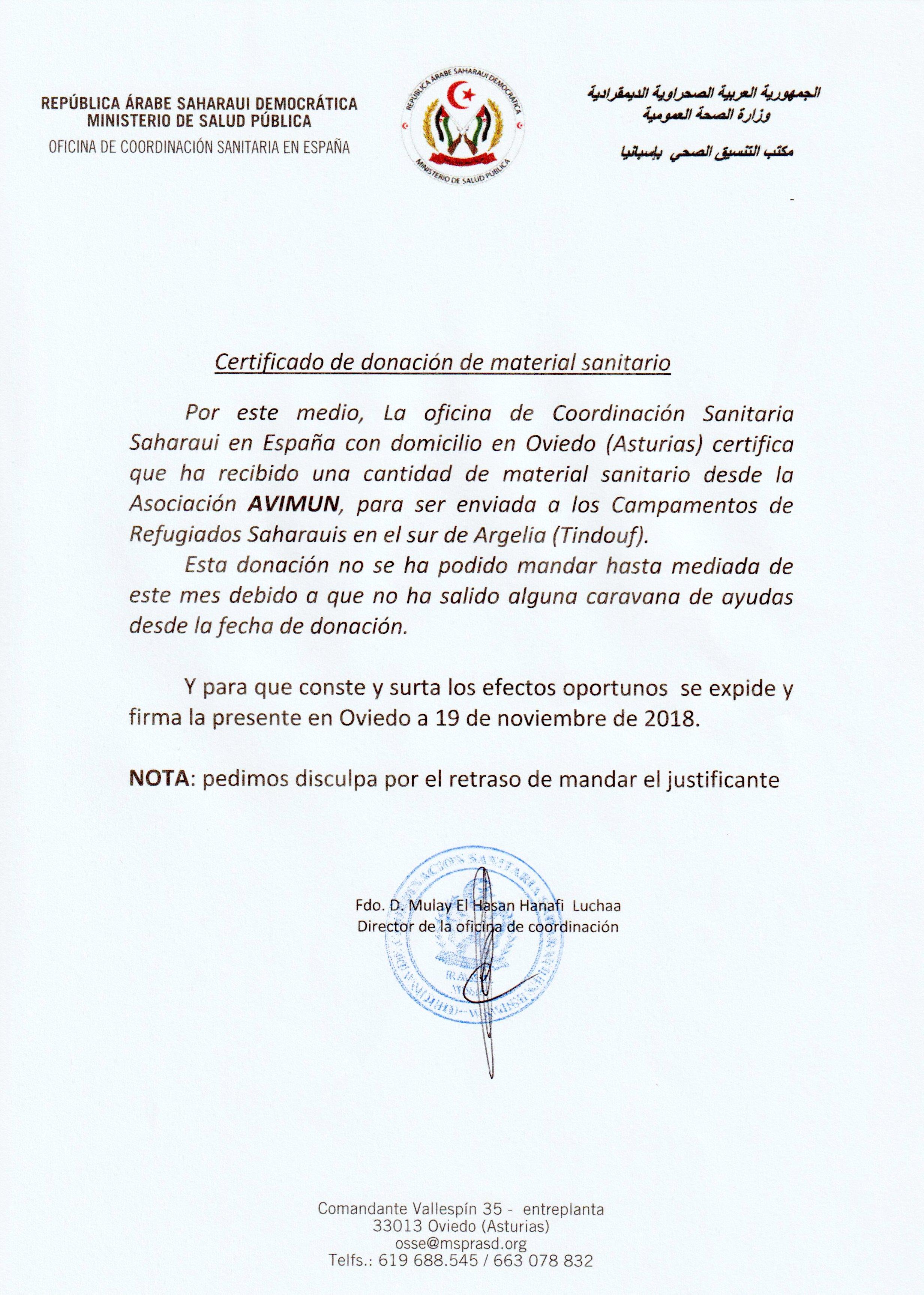 Certificado material entregado Sahara